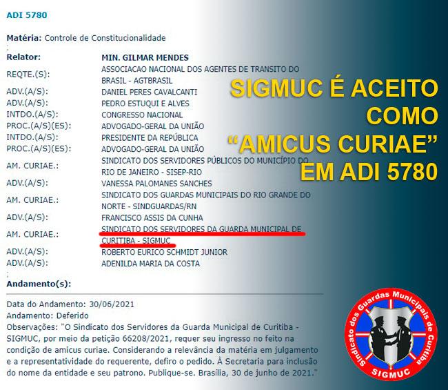 """SIGMUC É ACEITO COMO """"AMICUS CURIAE"""" EM ADI 5780"""
